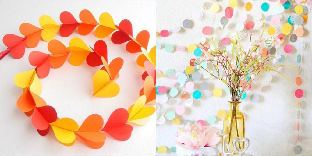 Home d cor paper garlands blomming blog about handmade for Handmade things for decoration