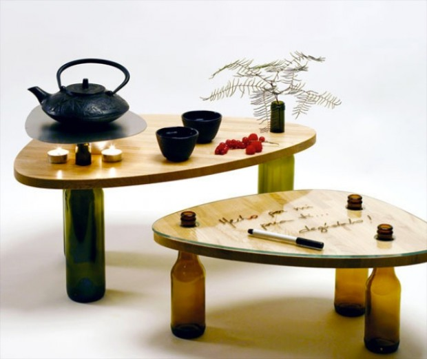 design table-table with bottles-wooden table with bottles-bottle legs-bottle table-wooden table