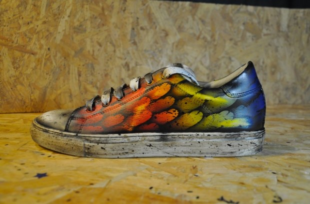 personalized shoe-hand painted sheo-paint on shoe-unique shoes-wing shoes