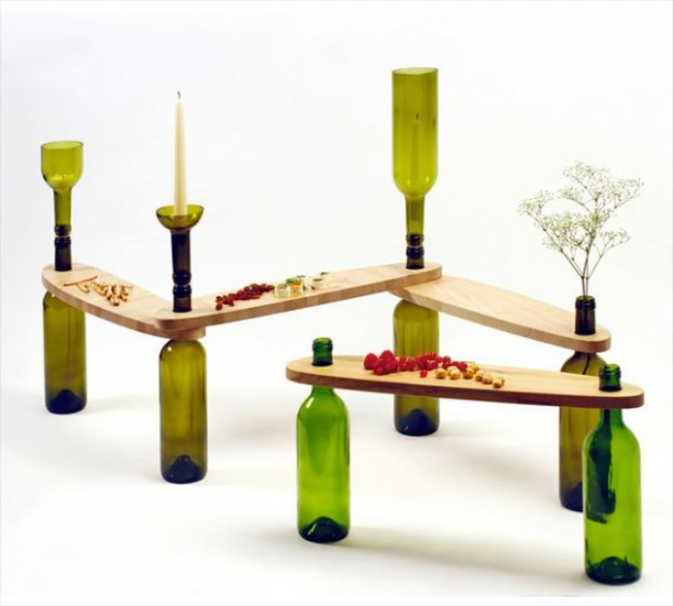 wooden table-todo design bottle table-bottles and wood for table