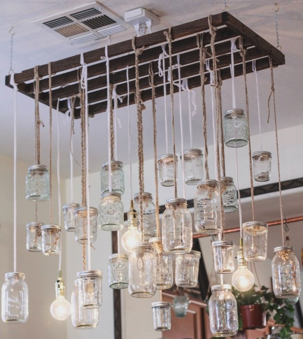 Diy jars chandelier blomming blog about handmade home garden and make sure to read how she and her husband mitch managed to build such a gorgeous chandelier aloadofball Image collections
