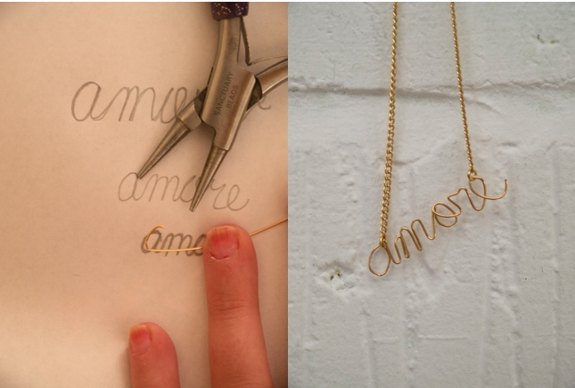 wire necklace tutorial-amore necklace-diy necklace