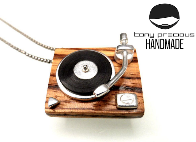 handmade turntables-turntable necklace-records